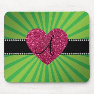 Monogram green sunburst pink heart mousepad