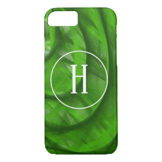 Monogram Green swirl Christmas iPhone case