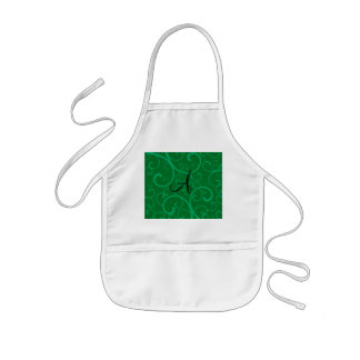 Monogram green swirls aprons