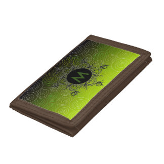 Monogram, green to dark, tri-fold wallet