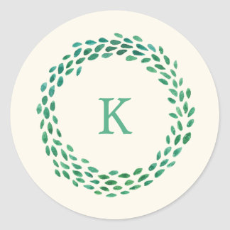 Monogram Green Watercolor Christmas Wreath Ivory Round Sticker