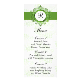 monogram green wedding menu custom rack cards