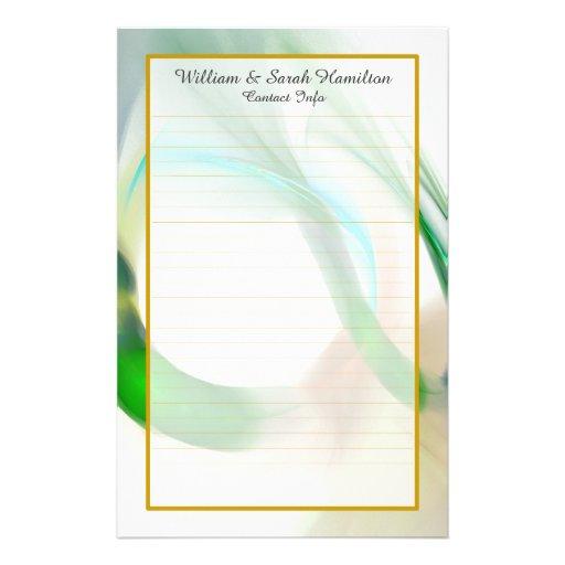 Monogram Green Wedding Rings Fine Lined Stationery