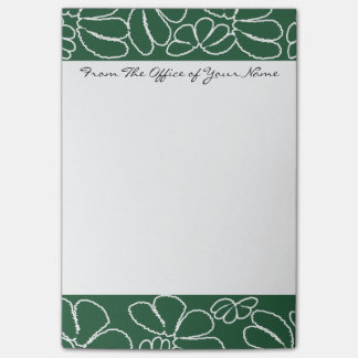 Monogram Green Whimsical Ikat Petal Doodle Pattern Sticky Notes