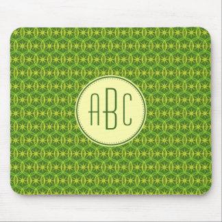 Monogram green yellow bicycle wheel pattern mouse pad