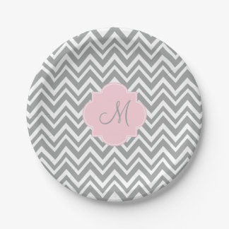 Monogram Grey and White Chevron with Pastel Pink 7 Inch Paper Plate