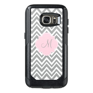 Monogram Grey and White Chevron with Pastel Pink OtterBox Samsung Galaxy S7 Case