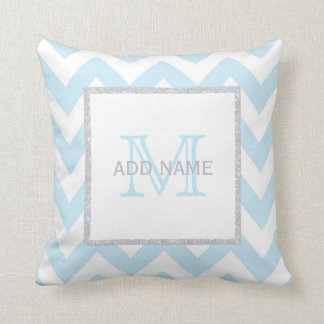 Monogram Grey Blue Chevron Baby Boy Pillow