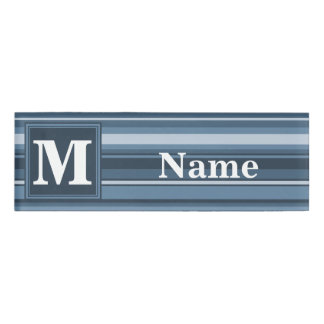 Monogram grey-blue stripes name tag