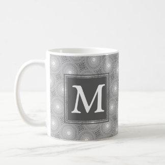 Monogram grey circles pattern coffee mug