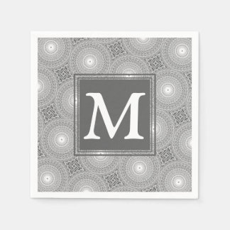 Monogram grey circles pattern paper napkins