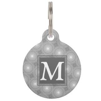 Monogram grey circles pattern pet ID tag