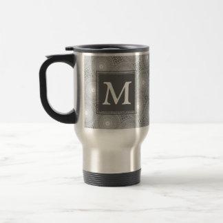 Monogram grey circles pattern travel mug