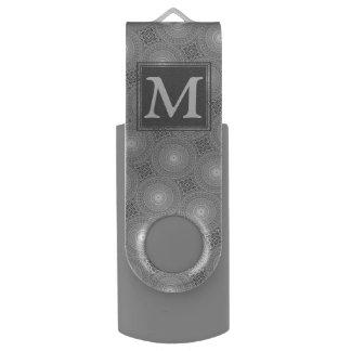 Monogram grey circles pattern USB flash drive