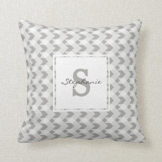 Monogram, grey gingham chevron, personalise w name throw pillow