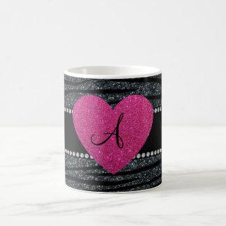Monogram Grey glitter zebra stripes pink heart Basic White Mug