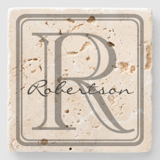 Monogram Grey Square Coaster