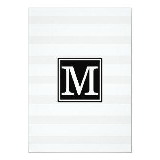 Monogram grey stripe Rehearsal Dinner invitation