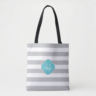 Monogram Grey Stripes and turquoise Tote Bag