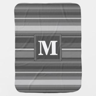 Monogram grey stripes baby blanket