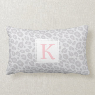 Monogram Grey Tonal Leopard Print Lumbar Pillow