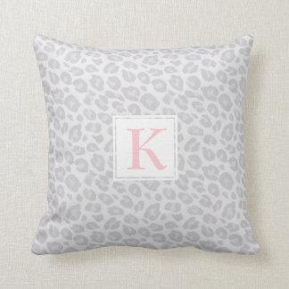 Monogram Grey Tonal Leopard Print Throw Pillow