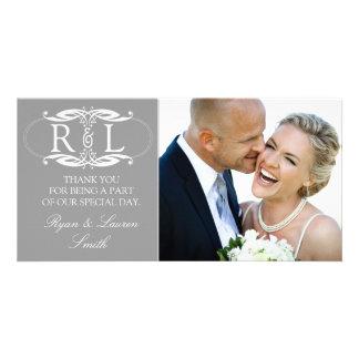 Monogram Grey Wedding Photo Thank You Cards Customized Photo Card