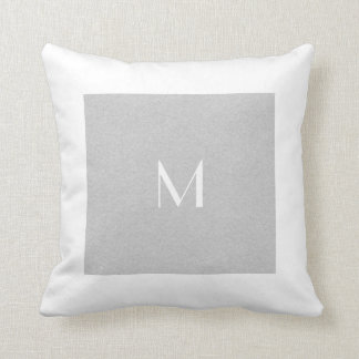 Monogram Grey & White | Any Size | Custom Throw Pillow
