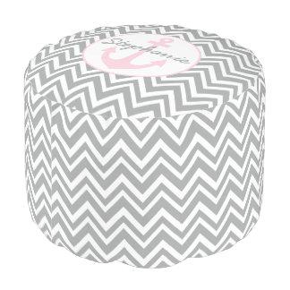 Monogram Grey, White, Pastel Pink Chevron Nautical Pouf