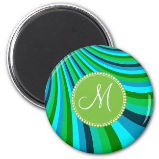 Monogram Groovy Blue Green Rainbow Slide Stripes 6 Cm Round Magnet