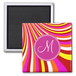 Monogram Groovy Hot Pink Red Yellow Orange Stripes Square Magnet