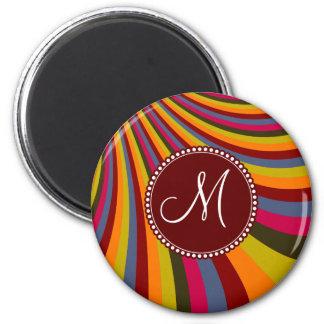 Monogram Groovy Orange Red Pink Green Stripes 6 Cm Round Magnet