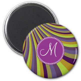 Monogram Groovy Purple and Green Stripes Magnet