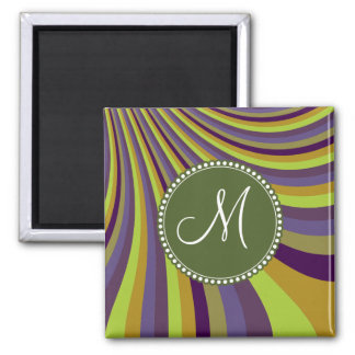 Monogram Groovy Purple and Green Stripes Square Magnet