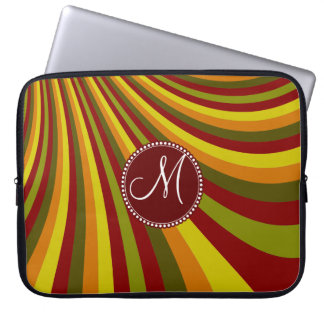 Monogram Groovy Red Yellow Orange Green Stripes Laptop Sleeve
