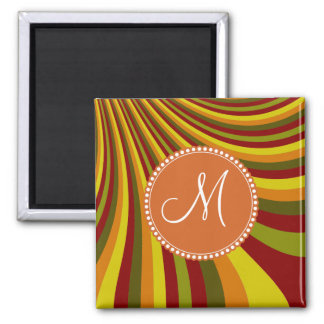 Monogram Groovy Red Yellow Orange Green Stripes Square Magnet