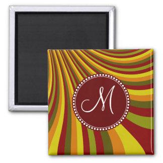 Monogram Groovy Red Yellow Orange Green Stripes Square Magnet