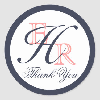 Monogram H Coral and Navy Wedding Thank You Round Sticker