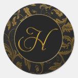 Monogram H Gold and Black Damask Wedding Seal Round Sticker