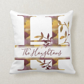 Monogram H - Watercolor - Personalized Cushion