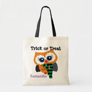 Monogram Halloween Owl Trick or Treat Tote Bag