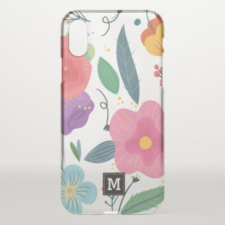 Monogram. Hand Drawn Cute Spring Flowers. iPhone X Case