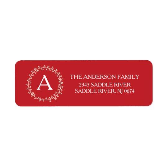 Monogram Happy & Merry Christmas Return Address Return Address Label