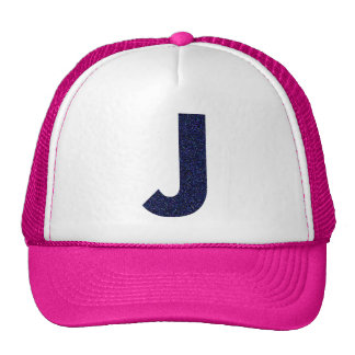 Monogram Hat, Capital J with Faux Glitter