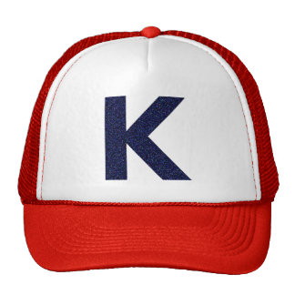 Monogram Hat, Capital K with Faux Glitter