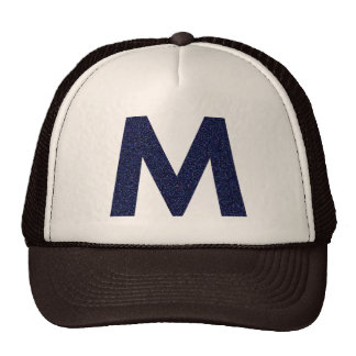 Monogram Hat, Capital M with Faux Glitter