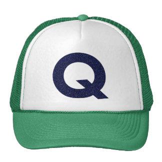 Monogram Hat, Capital Q with Faux Glitter Cap