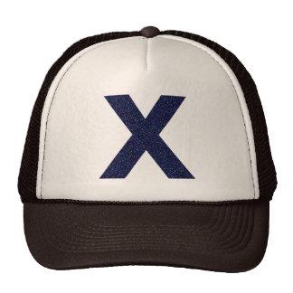 Monogram Hat, Capital X with Faux Glitter Cap