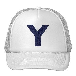 Monogram Hat, Capital Y with Faux Glitter Cap
