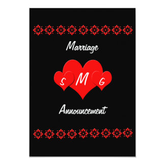 Monogram Heart Marriage  Announcement